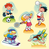 Sport characters with background. — Stock Vector