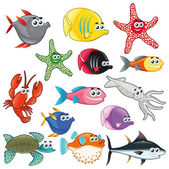 Family of funny fish. — Stock Vector
