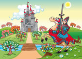 Panorama with medieval castle and knight — Stock Vector