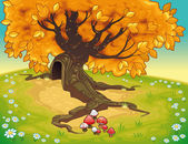 Tree in autumnal landscape. — Stock Vector