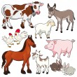 Farm animals. — Vector de stock