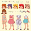 Female avatar with different dresses and items. — Stock Vector
