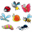 Bugs + 1 snail. - Stock Vector