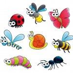 Bugs + 1 snail. — Stock Vector