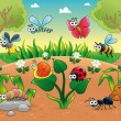 Bugs + 1 snail with background. — Stock Vector