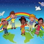 Children on the world. — Stock Vector
