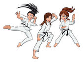Young girls, Karate Players. — Stock Vector