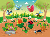Bugs + 1 snail with background. — Stockvector