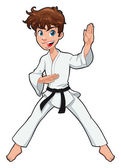 Young boy, Karate Player. — Stock Vector