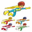 Young superheroes. - Stock Vector