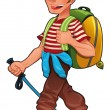 Trekking boy. — Stock Vector