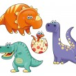 Group of funny dinosaurs. — Stock Vector