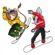 Savannah animals on snowboard. — Stock Vector #9797086