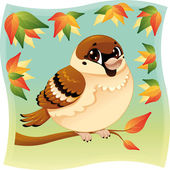 Funny little sparrow on a branch. — Stock Vector