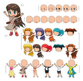 Avatar girl, vector illustration, isolated objects. — 图库矢量图片