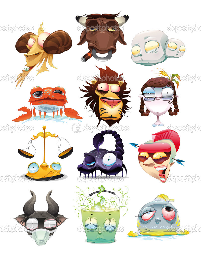 Funny Zodiac. Cartoon and vector illustration, isolated objects — Stock Vector #9797145