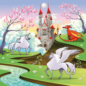 Pegasus, unicorn and dragon in a mythological landscape. — Stock Vector