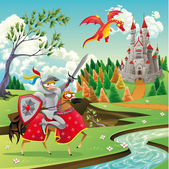 Panorama with medieval castle, dragon and knight. — Stock Vector