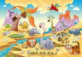Familia animal sabana con fondo. — Vector de stock