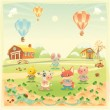 Baby farm animals in the countryside. — Imagen vectorial