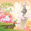 Unicorn and mythological landscape. — Stockvectorbeeld