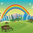 Park with rainbow. — Stock Vector