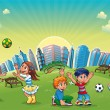 Boys and girls are playing in the park. - Imagen vectorial
