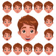 Boy Expressions with lip sync. — Stock Vector