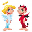 Baby Angel and Devil. — Stock Vector