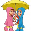 Boy and girl under the umbrella. — Stock Vector
