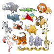 Stock Vector: Savannah animal family.
