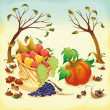 Fruit and vegetables in Autumn. - Imagens vectoriais em stock
