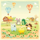 Baby farm animals in the countryside. — Stock Vector