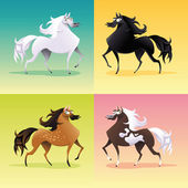Family of horses. — Stock Vector
