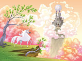 Unicorn and mythological landscape. — Stock Vector