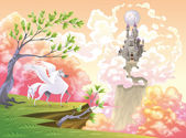 Pegasus and mythological landscape. — Stock Vector