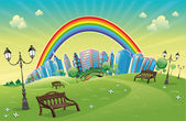 Park with rainbow. — Vector de stock
