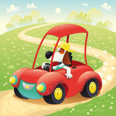 Funny dog on a car. — Stock Vector