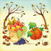 Fruit and vegetables in Autumn. — Cтоковый вектор