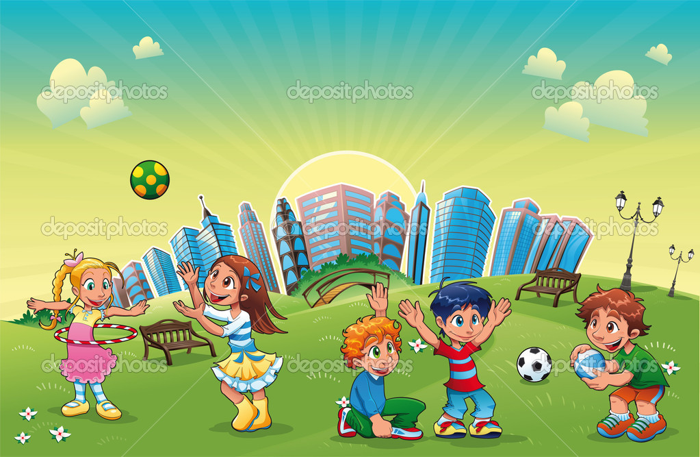 Niños y niñas están jugando en el parque — Vector de stock ...