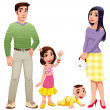 Humfamily with mother, father and children. — Stock Vector #9840007