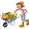 Royalty-Free Stock Vector Image: Peasant with wheelbarrow, vegetables and fruits.