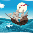 Galleon in the sea. - Stock Vector