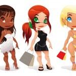 Three kind of ladies. — Stock Vector
