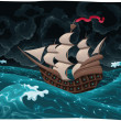 Galleon in the sea with storm. - Stock Vector