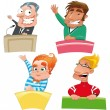 Set of different characters: Politician, teacher, student, presenter, etc... — Stock Vector #9840959