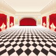 Interior with red curtains and tiled floor. - Stock Vector