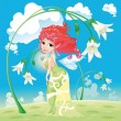 Fairy with flowers. — Stock Vector