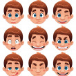 Boy Expressions. — Stock Vector