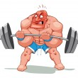 Muscle man, funny cartoon and vector character. — Stock Vector
